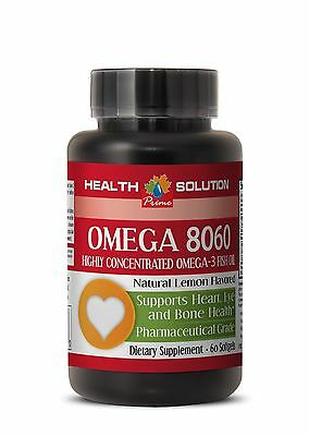 Omega 3 6 9 - OMEGA 8060 1500MG - Highly Concentrated Omega-3 Fish Oil - 1Bot