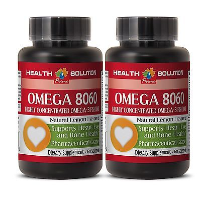 Fish Oil 1500mg - OMEGA 8060 - Manages to Strengthen Frail Hair - 2 Bottles 60Ct