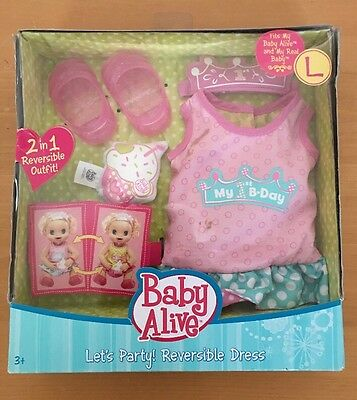 Baby alive doll Let's Party! Reversible Dress New In Box 2012