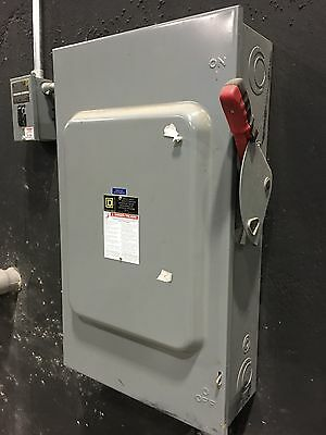 Square D 200 Amp 240 Volt 3 Phase H324N 1 Disconnect Safety Switch Fusible used