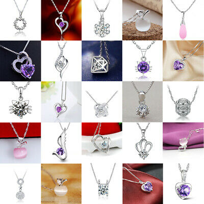 Womens Fashion 925 Sterling Silver Crystal Heart Pendant Necklace Chain Jewelry