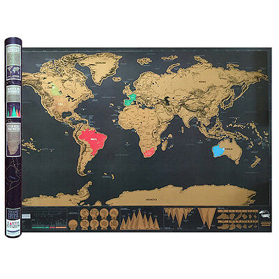 Large Travel Edition Scratch World Map Poster Wall Journal Personalized Tools
