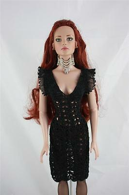 GORGEOUS FINELY CROCHETED BLACK DRESS  by Designer. FITS TYLER DOLLS