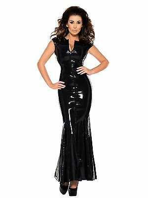 Damen Latex Abendkleid Gummikleid Latexkleid Gummi Kleid Ledapol 9049 Schwarz