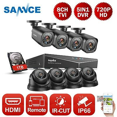 SANNCE 720P Video TVI 8CH DVR 1500TVL IP66 CCTV Home Security Camera System 1TB