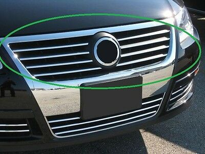 VW PASSAT B6 3C2 3C5 05-11 - CHROME Kit Front Grille Covers 3M Trim Tuning 8 PCS