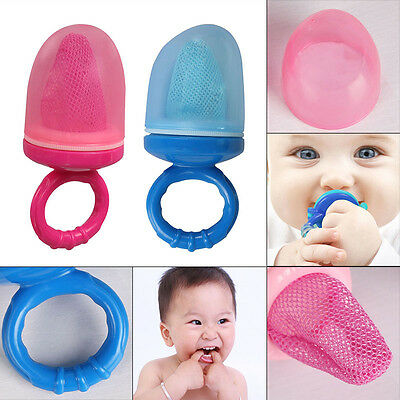 Safety Baby Weaning Fresh Food Mesh Holder Feeder Fruit Vegetables With Cap