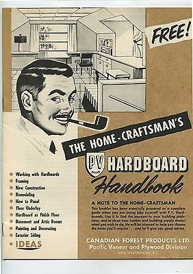 Old 1950's Advertising Brochure PV Brand Hardboard Canadian Forest Products
