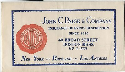 Old Advertising Envelope John C Paige Co Insurance New York