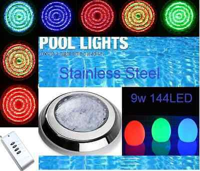New* Hq 144 Led Stainless Steel Pool Spa Light Rgb With 7 Colour  Remote Control