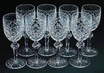 """Waterford Crystal Powerscourt White Wine Goblets 6-3/8"""" Glasses Set of 8"""