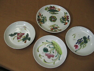Group of 4 Early 20th Century Asian Plates Hand Colored
