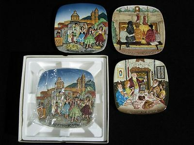 4 Mint 1970's Royal Doulton Plates BESWICK CHRISTMAS in England, Mexico, America