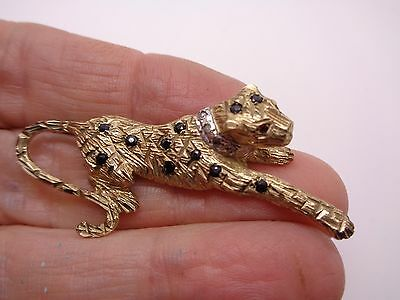 9Ct Yellow Gold Textured Leopard Brooch Shapphires ,ruby  And Diamond Collar