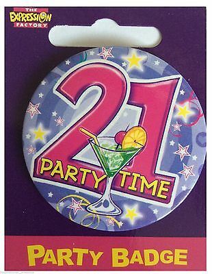 Expressions I AM 21 TODAY Happy 21st Birthday Badge Boy Blue Beer 55mm Diameter