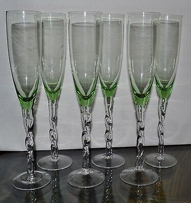 """Vintage Champagne Flute Green / Clear Braided Stems Set Of 6 / 12"""" Tall Rare"""