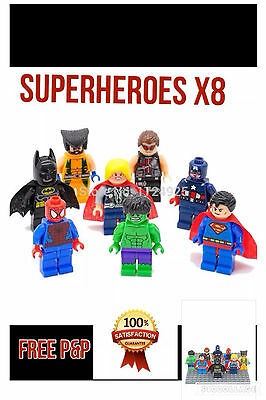 DC/Marvel figures,Superheroe x8, Irish Seller.100% new and unused,Fits lego