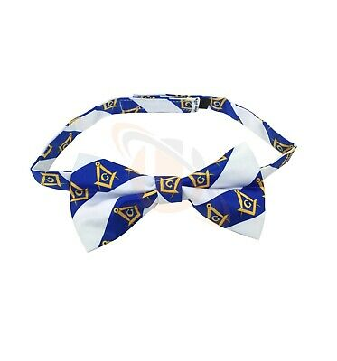 High Quality 100% Silk Masonic Bow Tie White and Blue BT030