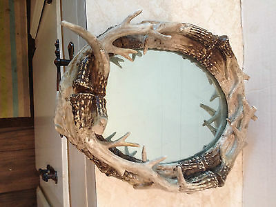 Vintage Mirror With Animal Horns Frame Unique