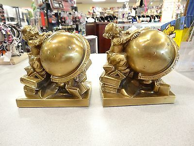 Set Pm Craftsman Vintage Brass Bookends  Usa! W/Tags Globe Atlas Scientist