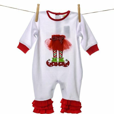 Elf Tutu Romper Bodysuit Girls Holiday Christmas Long Sleeve Girls  6 Months