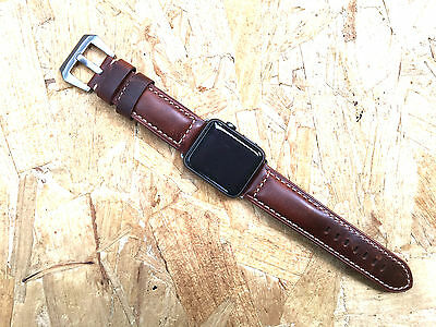 Quality Smooth Vintage Brown Leather Watch Strap Fits Apple Watch Series 3 42mm