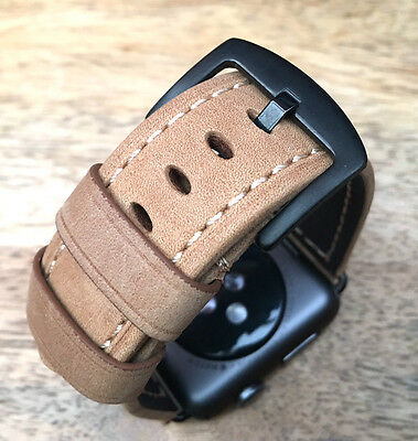 Quality Vintage Tan Brown Leather Watch Strap Band For Apple Watch Series 3 38mm