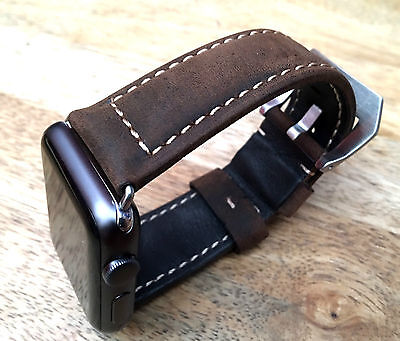 Quality Vintage Brown Leather Watch Strap  Band for Apple Watch Series 3 38mm