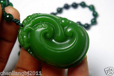 Chinese natural green jade nephrite carved dragon statue jade pendant & necklace