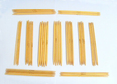 Bamboo double point knitting needles 15cm long set of 5 various sizes