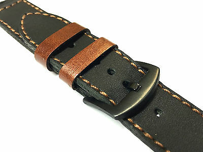 Quality Handmade Black Leather Watch Strap Band For Apple Watch Series 2 42mm