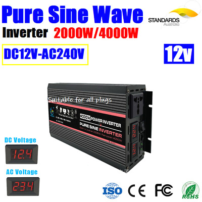 Power Inverter 2000W / 4000W Max 12V AC-DC Car Caravan Boat Battery USB Output