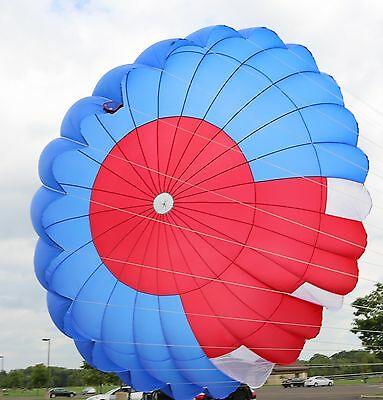 26ft vintage round reserve skydiving parachute canopy - red and blue