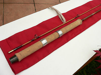 Lancer canne à pêche bambou et refendu rod fishing bamboo cane spinning lure old