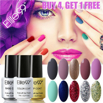 Elite99 Soak Off Color Gel Polish Collection Base Top Coat Lacquer Nail Art 7ml