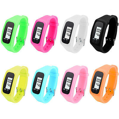 LCD Digital Pedometer Fitness Silicone Watch Calorie Step Run Distance Counter