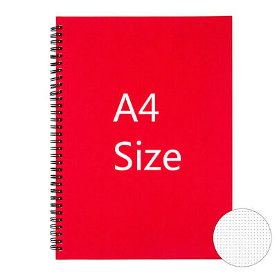 Large A4 Size Dot Grid Spiral Notebook for Bullet Journal Double Rings, Red