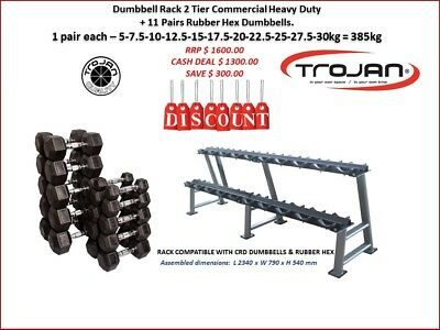Dumbbel Rack 2 Tier Commercial Heavy Duty 11 Pairs = 385 KG Rubber Hex Dumbbells