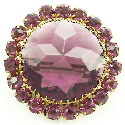 1920s ANTIQUE Faceted PURPLE CRYSTAL Brass Round Halo STATEMENT BROOCH Pin