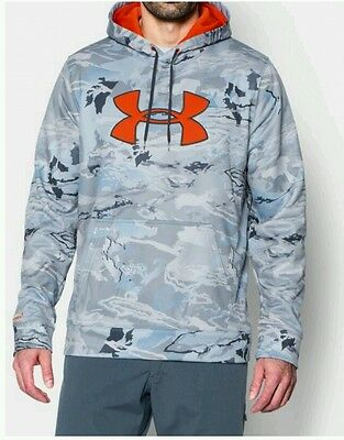 Under Armour UA Fleece Big Logo Fishing Hoodie Ridge Reaper Hydro Camo NWT Med