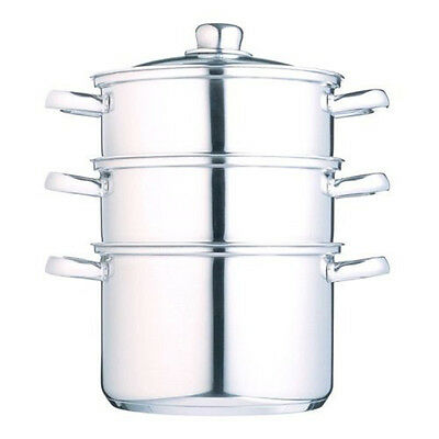 Kitchen Craft Clearview Stainless Steel 3-Tier Steamer 18 cm - SAME DAY DISPATCH