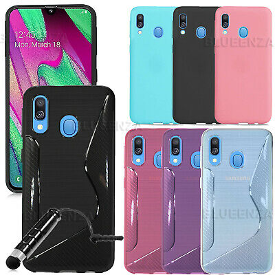 For Samsung Galaxy A40 SM-A405FN Gel Silicone Rubber Case Cover Matte Carbon NEW