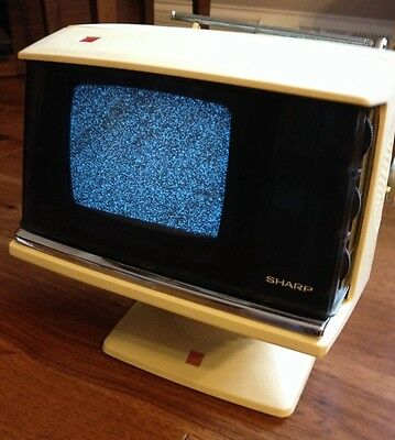 ICONIC SPACE AGE 1970s  SHARP ATOMIC  PORTABLE TELEVISION VINTAGE