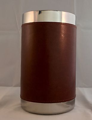 OGGI Faux Brown Leather Stainless Steel Wine Cooler