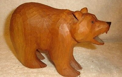 Coffelt Art Hand Carved Wooden Bear 7""