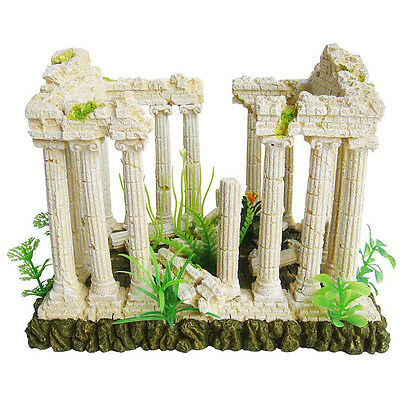 Ellie-Bo Temple Ruins Handpainted Polyresin Aquarium Ornament 27 x 21 x 19.5 cm