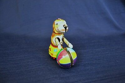 Christmas Tin Toy DOG WITH BALL Ornament ZZ Germany
