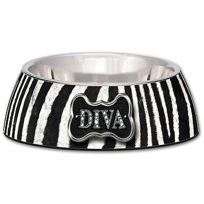 Loving Pets Diva Zebra Milano Bowl for Dogs and Cats Small - SAME DAY DISPATCH
