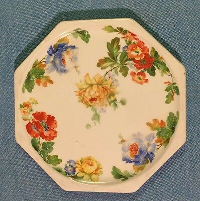 Vintage HARKER Pottery HOTOVEN Coffee Tea Octagon Blue Yellow Red Flowers