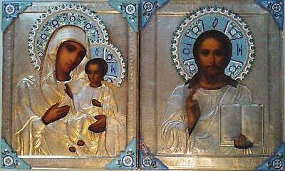 ANTIQUE 19с HAND PAINTED 84 SILVER ENAMEL RUSSIAN ICONS CHRIST & MOTHER OF GOD
